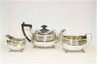 Lot 582 - Silver teapot, sugar bowl and jug