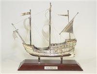 Lot 622 - A modern silver ship model