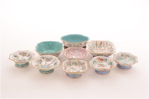 Lot 22-Nine twentieth century Chinese Famille Rose dishes
