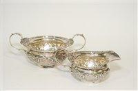 Lot 570 - A silver milk jug and sugar bowl