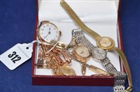 Lot 312-Five lady's wristwatches.