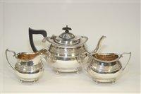 Lot 608 - Silver three piece tea service