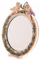Lot 107 - 19th Century porcelain Meissen oval mirror.