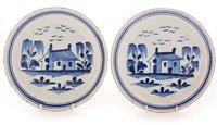 "104 - A pair of late 18th Century tin glazed earthenware ""Pancake"" plates"