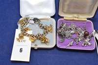 Lot 6-Two charm bracelets and charms.