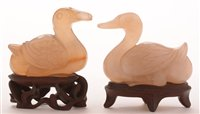 51 - Chinese carved pale green agate ducks