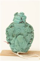 Image for 19th Century Chinese carved turquoise agate bottle and stopper