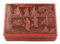 Lot 30 - Chinese Cinnabar rectangular lacquered box