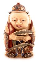 Lot 31 - Chinese carved, painted and stained ivory snuff bottle