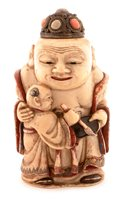 Lot 32 - Chinese carved, painted and stained ivory figural snuff bottle