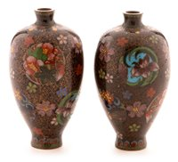 Lot 95-Pair of miniature Japanese cloisonne vases