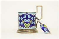 Lot 625 - Russian enamelled silver chocolate cup