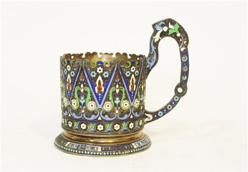 626 - Russian enamelled silver tea cup holder