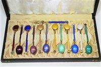 631 - Enamel silver-gilt teaspoons