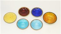 Lot 632 - Norwegian silver and enamel dishes