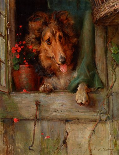 Lot 340-A collie dog at a cottage window.
