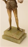 Lot 432-Attributed to Joseph Lorenzl): A Silvered Bronze and Ivory Figure of Hamlet