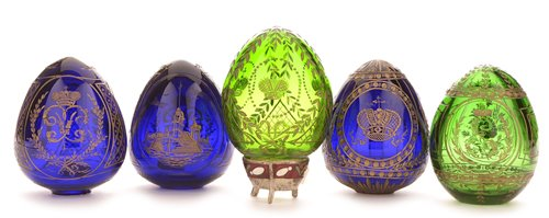 Lot 189-Faberge Modern Imperial glass eggs