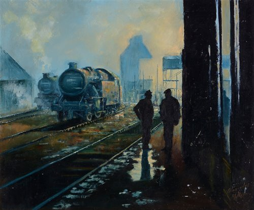 """Lot 373 - """"Early morning at the railway sidings""""."""