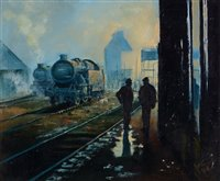 "Lot 373-""Early morning at the railway sidings""."