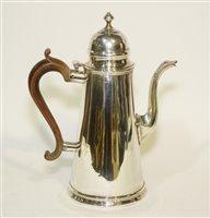 Lot 570A - Queen Anne Britannia Standard silver coffee pot.