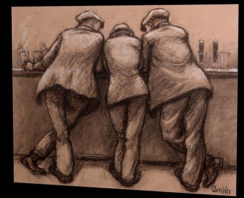 303 - Norman Stansfield Cornish - Three men at a bar counter.