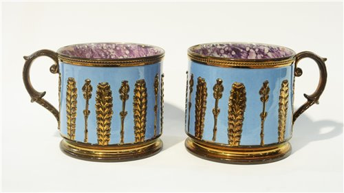 Lot 72-Pair copper lustre porter mugs