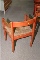 Lot 1124 - Vico Magistretti for Habitat: six beech and rush seated armchairs.