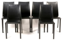 Lot 1121-Titta Paoloni for Frag: Evia H black fully leather-upholstered dining chairs, set of six.