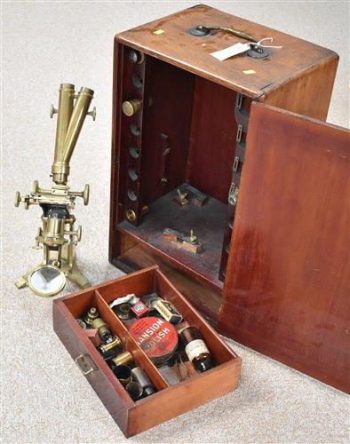 71 - Brass microscope in mahogany case