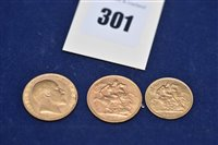 Lot 301-Two gold sovereigns and a gold half sovereign