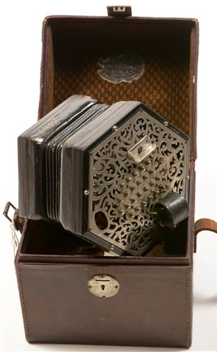 Lot 128 - A Lachenal New Model English system concertina in a Wheatstone case
