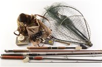 Lot 6a-Landing nets, fishing tackle and other items