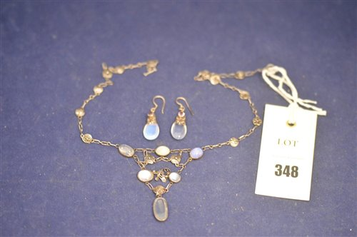 Lot 348-Moonstone necklace and earrings