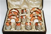 Lot 98 - Royal Crown Derby coffee cans and saucers.