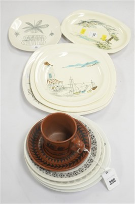 Lot 5-Scottie Wilson Worcester cup and saucer, quantity of mid century ceramics including Midwinter