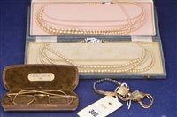 Lot 306-Two 9ct gold ladies watches, two necklaces and spectacles