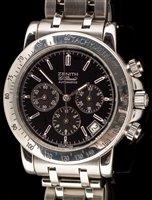 Lot 476-Zenith. A stainless steel automatic calendar chronograph bracelet watch, El Primero Rainbow