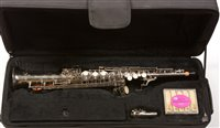Lot 10-A silver-plated Soprano saxophone in C.