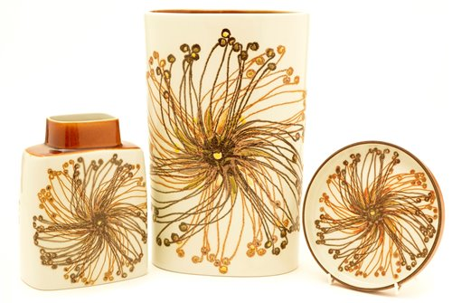 Lot 6-Three pieces of Royal Copenhagen Fajance 'Sunflower' pattern.