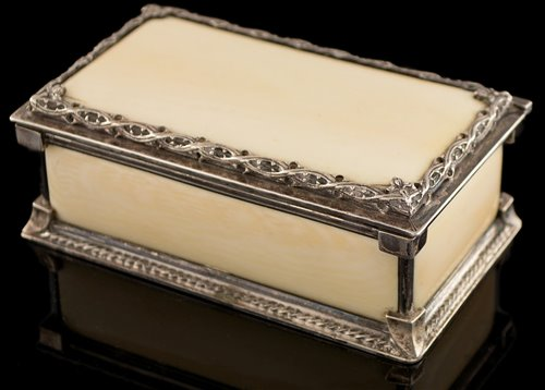 Lot 390-Omar Ramsden silver and ivory box