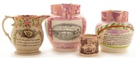 Lot 79 - Four small Sunderland jugs.