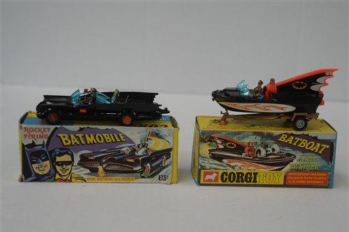 Lot 1982-Corgi Batmobile and Batboat