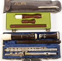Lot 5-Gemeinhardt silver plated flute, Dolmetsch treble recorder aulos tenor recorder