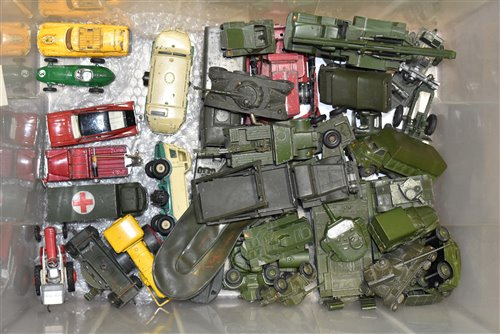 Lot 1993 - Mostly Dinky diecast vehicles, many military type, unboxed.