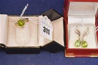 Lot 311-Peridot ring and earrings