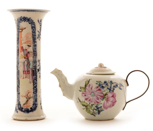 Lot 5-Chinese sleeve vase;  and Chinese teapot.