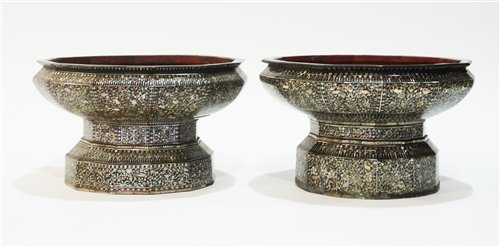 34 - Near pair of Thai offering bowls.