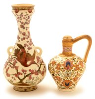 Lot 115 - A Zsolnay vase; and Fischer ewer.