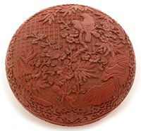 Lot 33 - Chinese lacquer jar and cover.